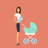 Young Mother With Baby Newborn Pram Royalty Free Stock Photography