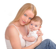 Young Mother and Baby Newborn on White Stock Image
