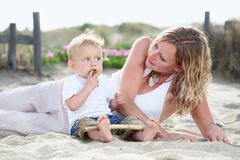 Young mother with baby outdoors Royalty Free Stock Images