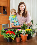 Young mother and baby in the room transplanting potted flowers Royalty Free Stock Images