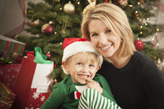 Young Mother and Baby Son Christmas Portrait Royalty Free Stock Photography