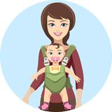 Young mother with baby. Young woman mother and her baby with care and love. Vector illustration Royalty Free Stock Photo