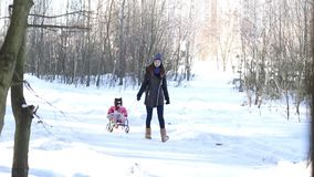 A young mother carries her daughter on a sled stock video