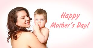 Young mother with a charming baby on white background Stock Photos
