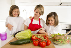 Young mother in cook apron and sweet beautiful twin daughters cooking preparing together salad Stock Photography