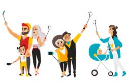 Young mother, couple and family all making selfie royalty free illustration