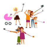 Young mother, couple and family all making selfie Stock Images