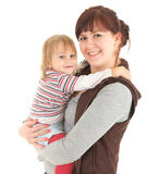 Young mother cuddling baby son. White background Royalty Free Stock Photos
