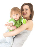 Young mother cuddling baby son. White background Stock Image