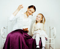 Young mother with daughter at luxury home interior vintage, post card view happy smiling people Stock Images