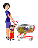 Young mother and daughter with a shopping cart for a supermarket. Vector Illustration. Young mother and daughter with a shopping cart for a supermarket vector illustration