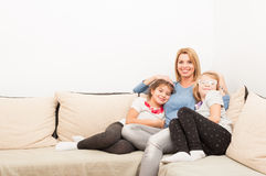 Young mother and daughters Stock Photo
