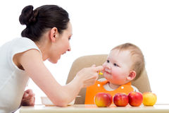 Young mother feeding her baby girl Royalty Free Stock Photography