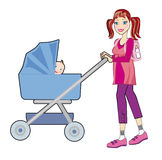 A young mother goes for a walk Royalty Free Stock Image