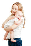Young mother and happy baby in her hands Stock Images