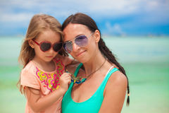 Young mother and her adorable little daughter have Royalty Free Stock Image