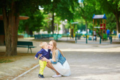 Young mother and her adorable toddler son Stock Images