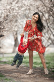 Young mother with her baby on walk in blooming garden. They play and laugh cheerfully among flowering apricot trees Royalty Free Stock Image