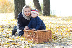 Young mother with her children in the park autumn Royalty Free Stock Images