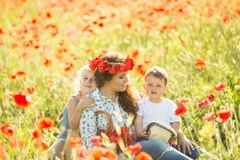Young mother with her children Royalty Free Stock Images