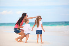 Young mother and her cute daughters enjoy summer Royalty Free Stock Photography