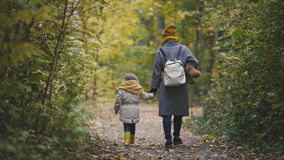 Young mother and her daughter little girl moving away in a autumn park. Telephoto Royalty Free Stock Image