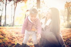 Cheerful mother and little girl. stock photos