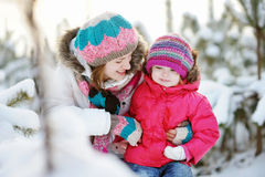 Young mother and her daughter at winter Stock Image