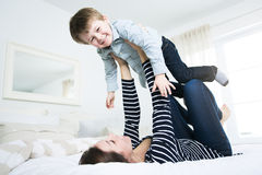 Young mother with her four years old little son Royalty Free Stock Photos