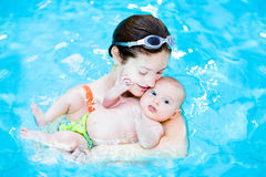 Young mother and her little baby in swimming poo Stock Photo