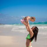 Young mother and her little daughter on tropical Royalty Free Stock Photos