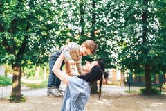 Mother with her little son outdoor in the park. Young mother with her little son outdoor in the park royalty free stock photo