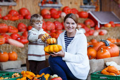 Young mother and her little son playing on pumpkin patch farm. Royalty Free Stock Image