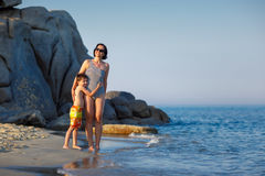 Young mother and her little son on vacation Royalty Free Stock Photos