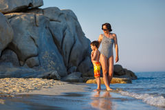 Young mother and her little son on vacation Stock Image