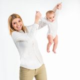 Young mother with her six-month daughter Royalty Free Stock Images