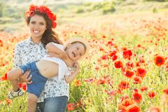 Young mother with her son Stock Photo