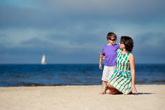 Young mother and her son on summer vacation Stock Image