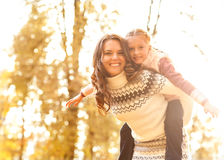 Young mother and her toddler daughter stock photo