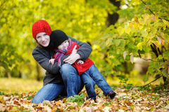 Young mother and her toddler girl in autumn Stock Photography