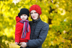 Young mother and her toddler girl in autumn Royalty Free Stock Images