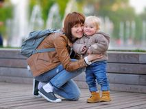 Young mother with her toddler son Stock Images