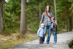 Young mother and her two daughters Stock Images