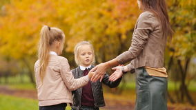 Young mother and her two little daughters playing games at autumn park. Young mother and her two little daughters at autumn park stock footage