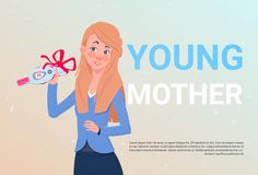 Young Mother Holding Positive Prenancy Test With Red Ribbon Bow Over Template Background. Flat Vector Illustration Royalty Free Stock Photos