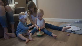 Young mother with kids stock video footage