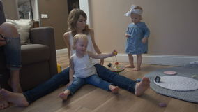 Young mother with kids stock video