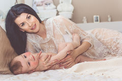 Young mother with little baby boy Royalty Free Stock Photos