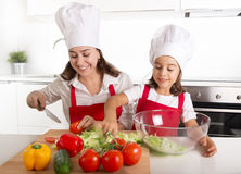 Young mother and little daughter at house kitchen preparing salad for lunch wearing apron and cook hat Stock Photo