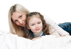 Young mother little daughter Stock Photos